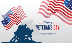 Flat design veterans day illustration concept vector