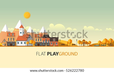 flat design village abstract