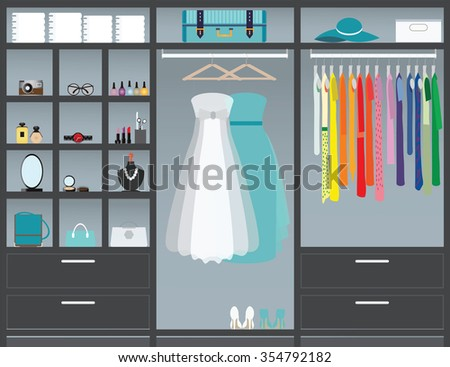 Flat Design walk in closet, interior design, Clothing store, Boutique indoor with cosmetics, woman fashion conceptual Vector illustration.