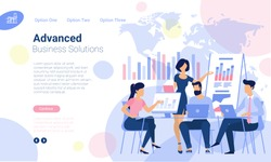 Flat design  web page template for advanced business  solutions and online bankind, business strategy and analytics. Trendy vector  illustration concept for website and mobile app.
