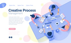 Flat design  web page template for creative business  process and  business strategy. Trendy vector  illustration concept for website and mobile app.