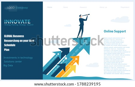 Flat design website or app page template. Financial services, banking, strategic planning, development, business solutions, consulting, market research, teamwork, data analyse, support, security Stock fotó ©