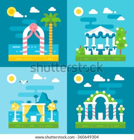 flat design wedding arch