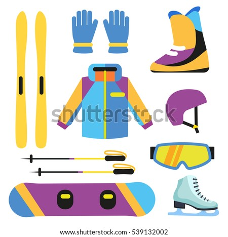 Flat design winter sport concept. Winter sports equipment.
