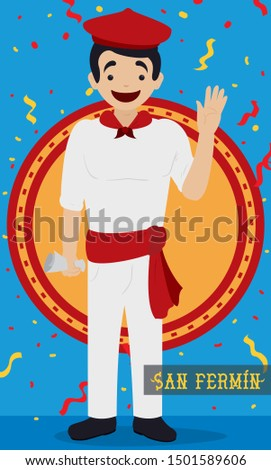 Flat design with a happy Spaniard man wearing traditional attire: white clothes, kerchief, sash, beret and holding a newspaper under a confetti shower for the Spanish San Fermin Festival celebration.