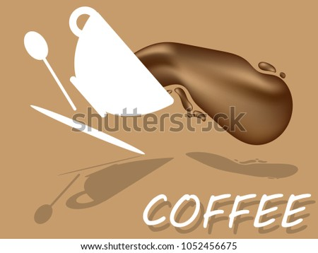 Flat Design With Cup Of  Coffee And White Spoon. For Placards, Banners, Presentations, Reports, Card And Wallpaper. Vector Illustration. Eps 10
