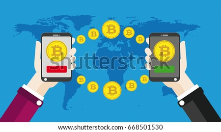 Flat design with human hands, smartphones and golden bitcoins. Eps 10 vector file.