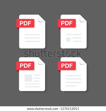 Flat design with PDF files download document,icon,symbol set, vector design element illustration