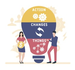 Flat design with people. Action Changes Things (ACT), business concept acronym. Vector illustration for website banner, marketing materials, business presentation, online advertising.