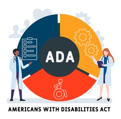 Flat design with people. ADA -  Americans with Disabilities Act, medical concept. Vector illustration for website banner, marketing materials, business presentation, online advertising