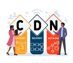 Flat design with people. CDN - Content Delivery Network acronym. business concept background. Vector illustration for website banner, marketing materials, business presentation, online advertising
