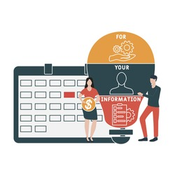 Flat design with people. FYI - For Your Information acronym. business concept background. Vector illustration for website banner, marketing materials, business presentation, online advertising