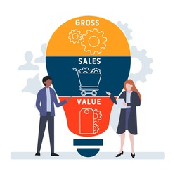 Flat design with people. GSV - Gross Sales Value. acronym, business concept background.   Vector illustration for website banner, marketing materials, business presentation, online