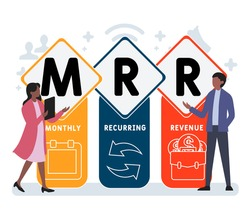 Flat design with people. MRR - Monthly Recurring Revenue acronym. business concept background. Vector illustration for website banner, marketing materials, business presentation, online advertising