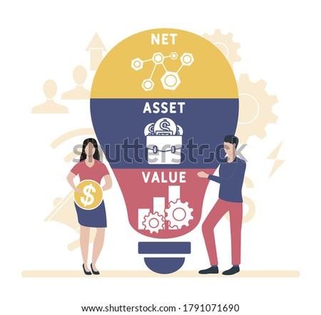 Flat design with people. NAV - Net Asset Value. business concept.Vector illustration for website banner, marketing materials, business presentation, online advertising. Imagine de stoc ©