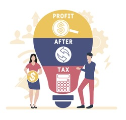 Flat design with people. PAT  - profit after tax. Platform. business concept background. Vector illustration for website banner, marketing materials, business presentation, online advertising