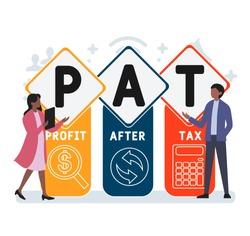 Flat design with people. PAT  - profit after tax. Platform. business concept background. Vector illustration for website banner, marketing materials, business presentation, online advertising