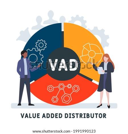 Flat design with people. VAD - Value Added Distributor acronym. business concept background. Vector illustration for website banner, marketing materials, business presentation, online advertising Stock fotó ©