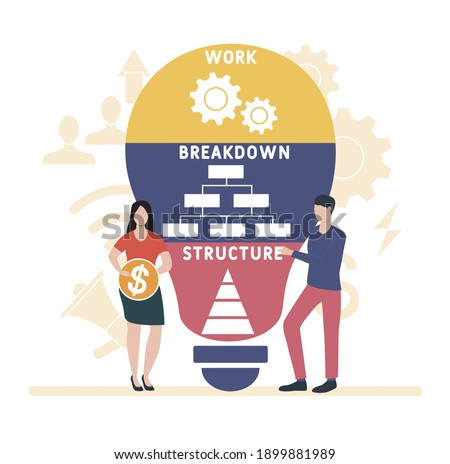 Flat design with people. WBS - Work Breakdown Structure  acronym, business concept background.   Vector illustration for website banner, marketing materials, business presentation, online advertising. Stock photo ©