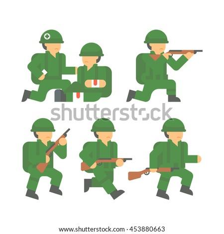 flat design world war 2 soldier