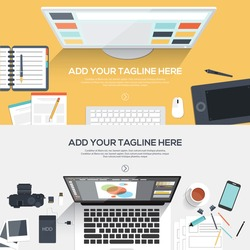 Flat designed banners for creative project, graphic design development, business, finance. Vector