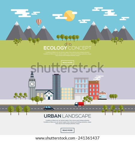 Flat designed banners for ecology concept and urban landscape Vector