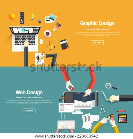 Flat designed banners for graphic design and web design. Vector