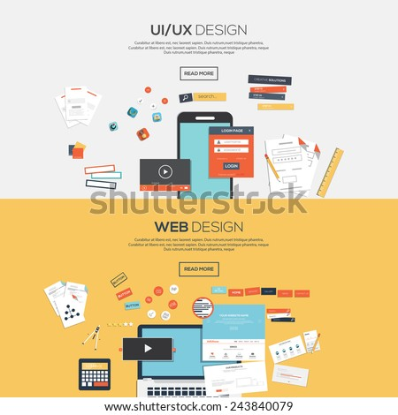 Flat designed banners for ui-ux design andweb design Vector