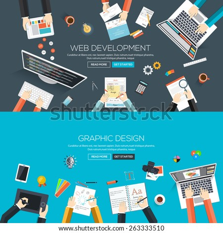 Flat designed banners for web development and graphic design. Vector