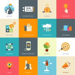 Flat Designed Business Concepts for Business Plan. Know How. Multimedia. Mission. Mobile Marketing. Strategy. Start-up. Promote. Vision.  Solutions. Outside the Box. Growth. Teamwork