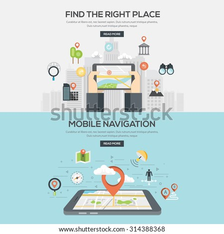 Flat designed Illustrations for Find the right place and Mobile navigation. Vector