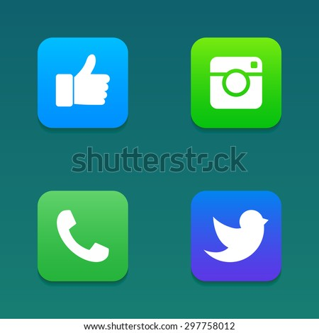 Flat designed vector icons of digital camera, like hand symbol, thumbs up, messenger bird and telephone receiver for social media, websites, interfaces. Vector illustration.