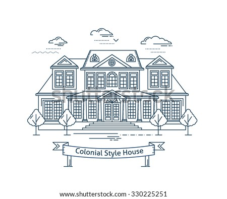 Flat detailed modern outline minimal illustration with trendy lines of residential colonial family house with columns and staircase, isolated on white. Trees and clouds separated.