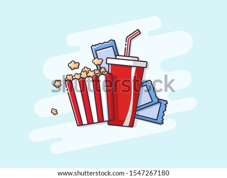 Flat drawn Coca Cola and popcorn set for going to the movies