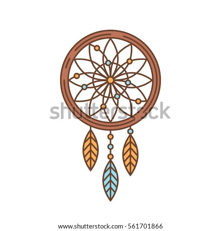 Flat dream catcher thin lined icon. Indian symbol outlined logotype design for business branding and web templates Foto stock ©