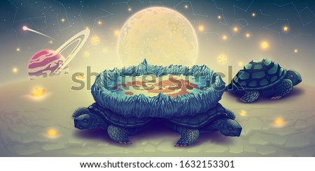 Flat earth model on a three turtles, concept cosmology of flat world in space with solar system, sun, moon and stars. Disk globe theory vs spherical planets. Fantasy landscape, vector illustration.