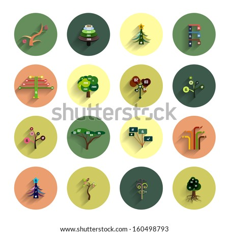 flat eco tree infographic icon
