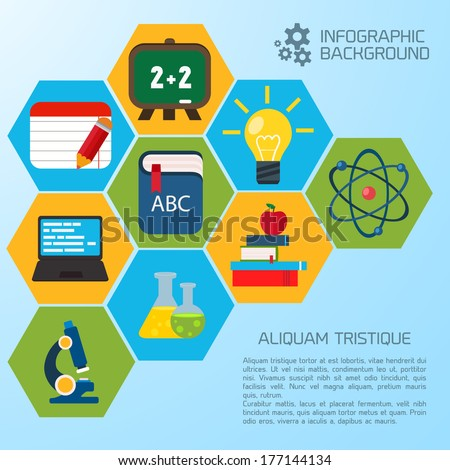Infographic Ideas infographic template education : Flat Education Infographic Background. Colorful Template For You ...