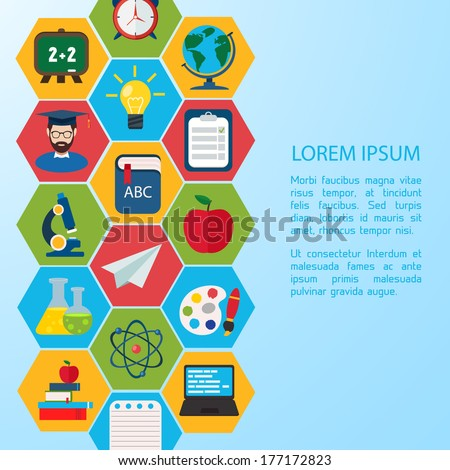 Flat education infographic background. Colorful template for you design.