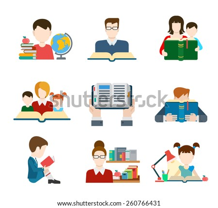 Flat education student pupil kid parent teacher people profile user interface icon set modern web isometric infographic concept vector. Learning study reading teach classes. Creative people collection