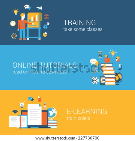 Flat education, training, online tutorial, e-learning concept. Vector icon banners template set. Web illustration. Teacher by the blackboard, book heap, laptop document. Website infographics elements.