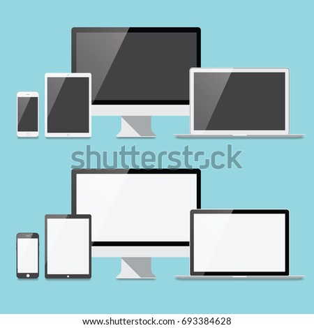 Flat Electronic Devices Set - Set of electronic devices in a flat style. Devices include a desktop compute, laptop, tablet and smartphone. Eps10 file with transparency.