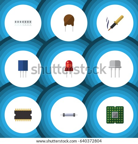 Flat Electronics Set Of Recipient, Memory, Triode And Other Vector Objects. Also Includes Resist, Semiconductor, Central Elements.
