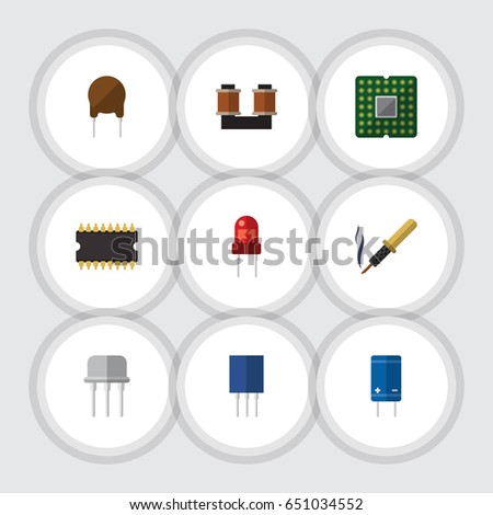 Flat Electronics Set Of Recipient, Unit, Transistor And Other Vector Objects. Also Includes Electronics, Triode, Transistor Elements.