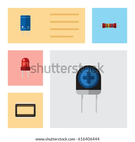 Flat Electronics Set Of Transistor, Transducer, Recipient And Other Vector Objects. Also Includes Mainframe, Resistance, Resistor Elements.
