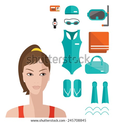Flat elements of fitness and woman face. Vector flat icon of swimming pool. Fitness elements. Vector fitness set. Fitness woman set. Vector flat design of fitness. Fitness details.