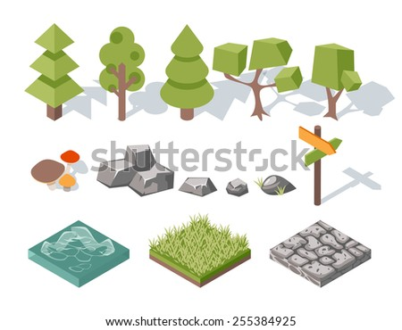 flat elements of nature trees