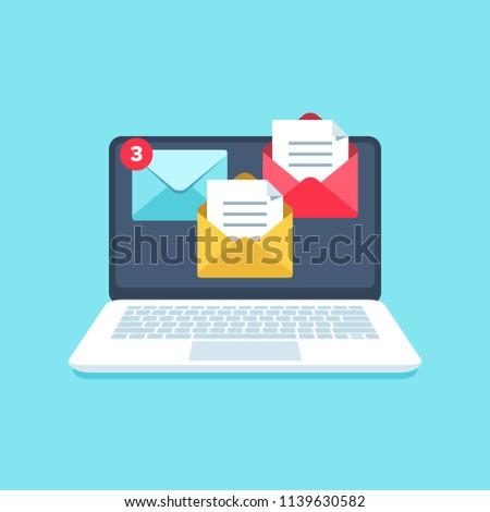 Flat email messages inbox notification. Laptop computer screen alertness sms marketing computer notification newsletter with business mail letters alerts vector illustration