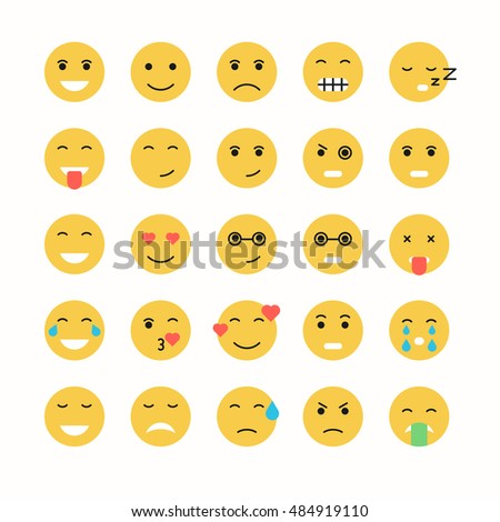 Flat emoticon face icons set. Vector smiley face.