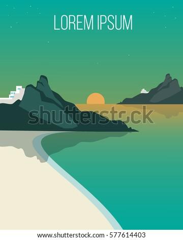 flat evening coast landscape
